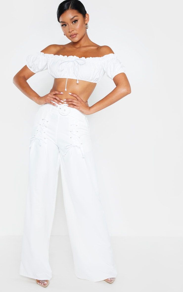 White Woven Belted Lace Detail Wide Leg Pants 1