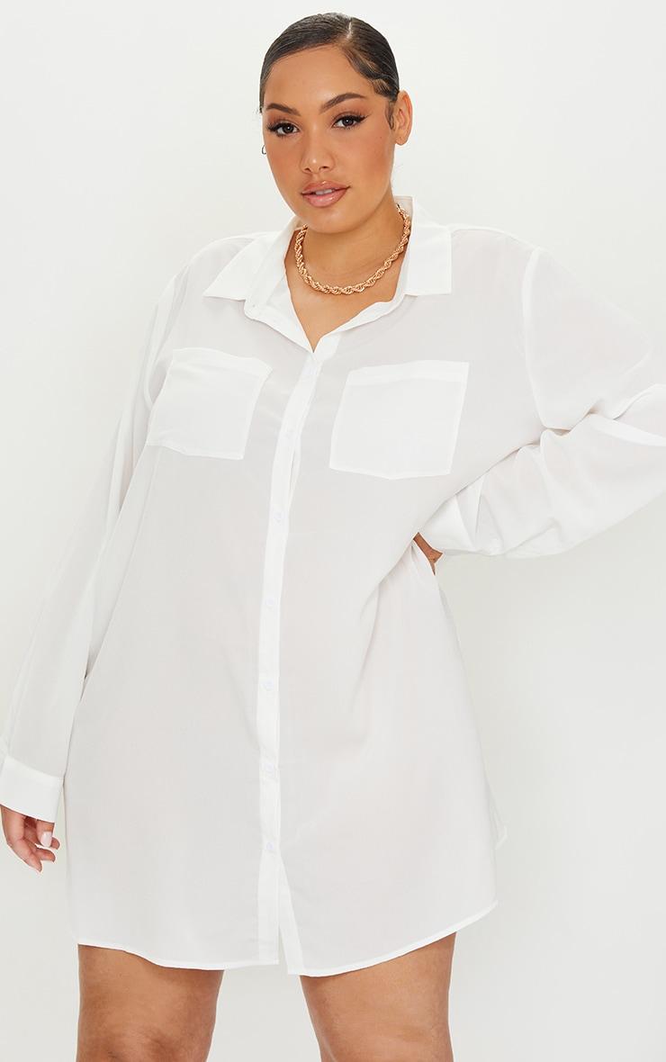 Plus White Plain Shirt Dress 3