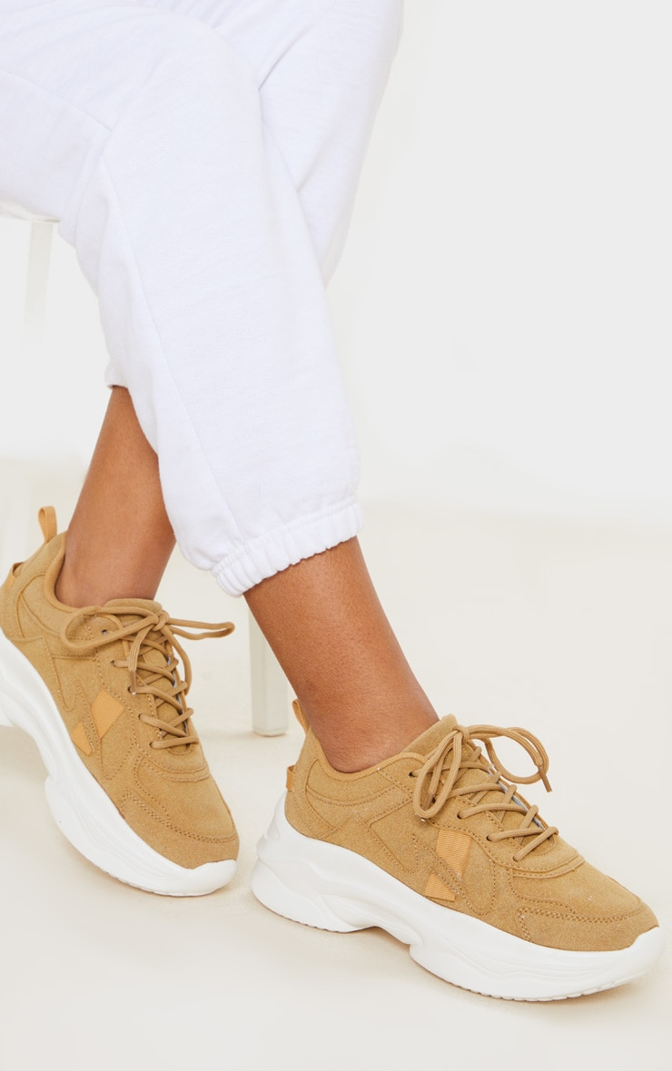Sand Faux Suede Chunky Bubble Sole Sneakers 1
