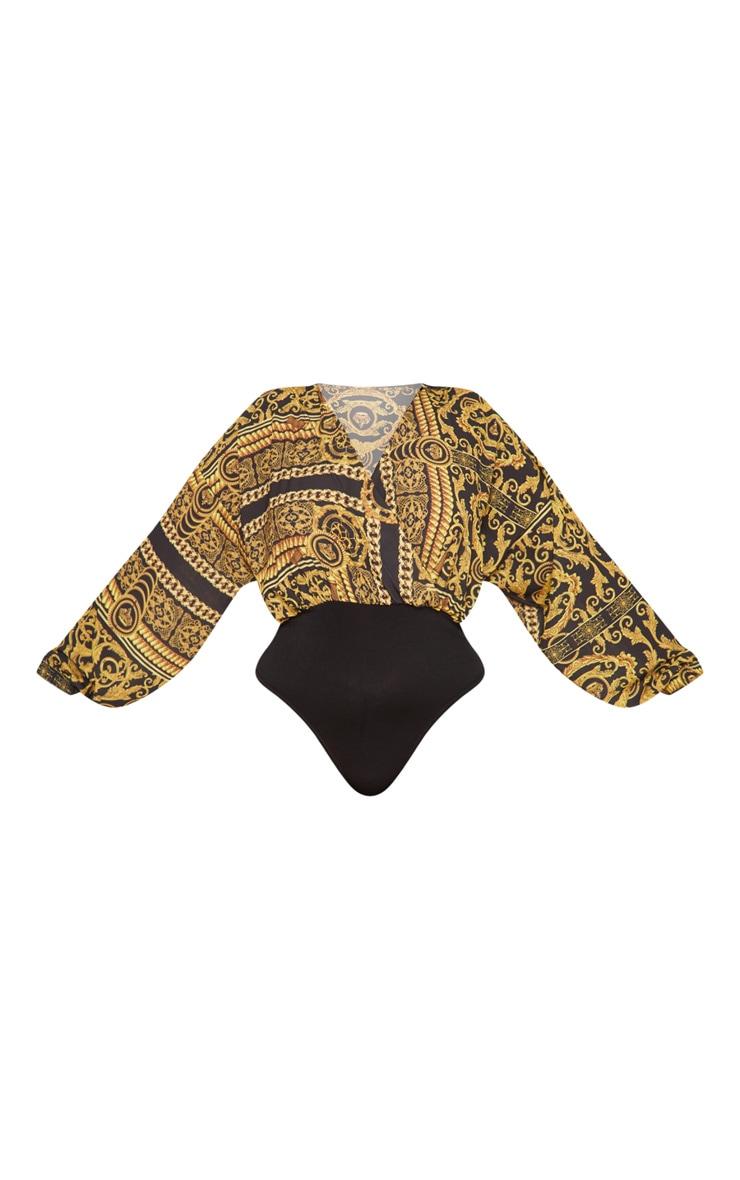 Plus Black Chain Print Crepe Plunge Bodysuit 3