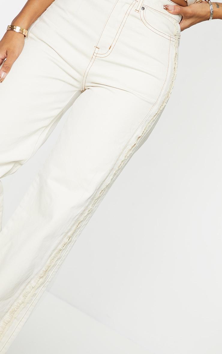 Shape Ecru Fray Side Detail Wide Leg Jeans 4