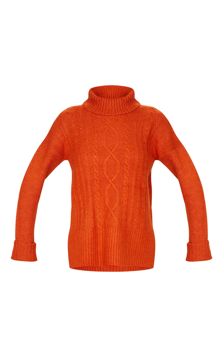 Orange Roll Neck Fluffy Cable Sweater 3