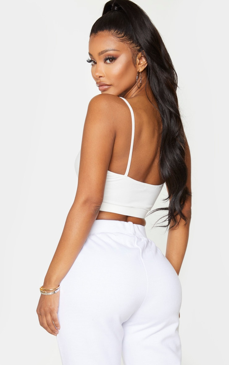 Shape White Cotton Strappy Crop Top 2
