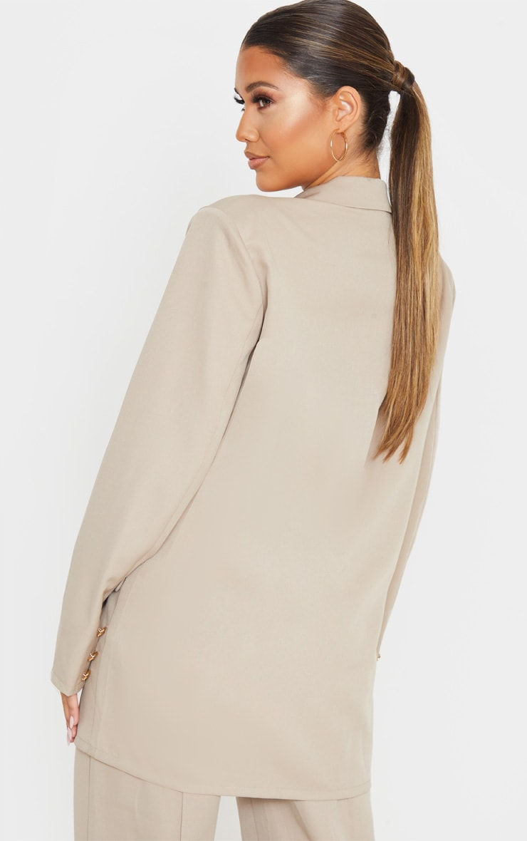 Taupe Shoulder Pad Oversized Double Breasted Blazer 2