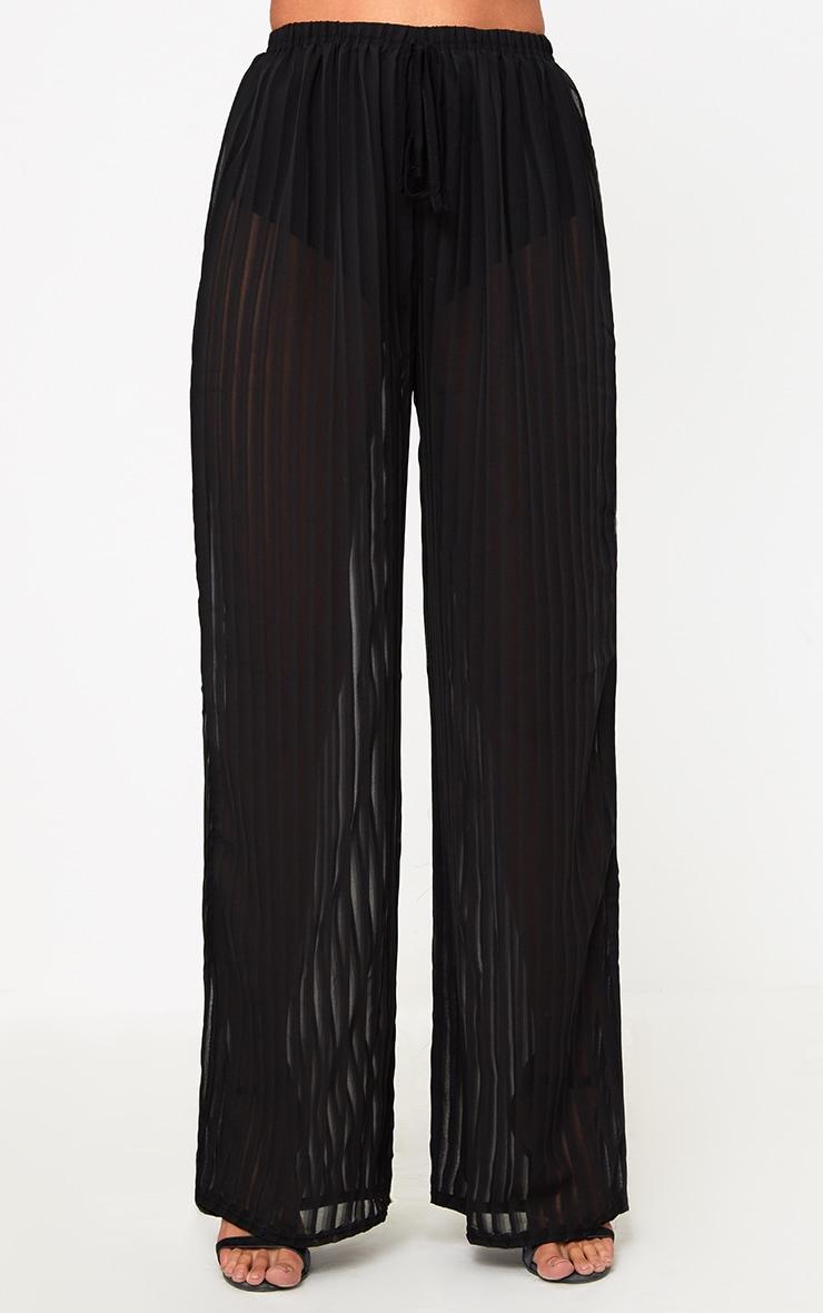 Black Stripe Chiffon Beach Trousers  2