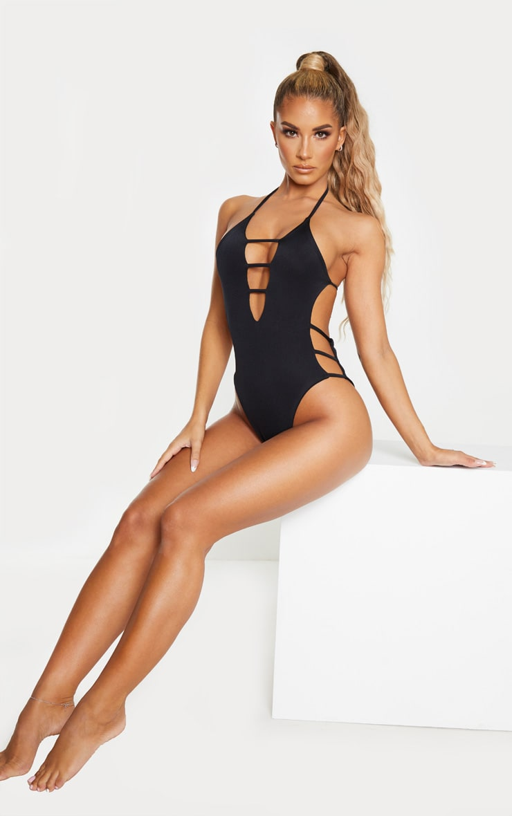 Black Plunge Strappy Cut Out Swimsuit 5