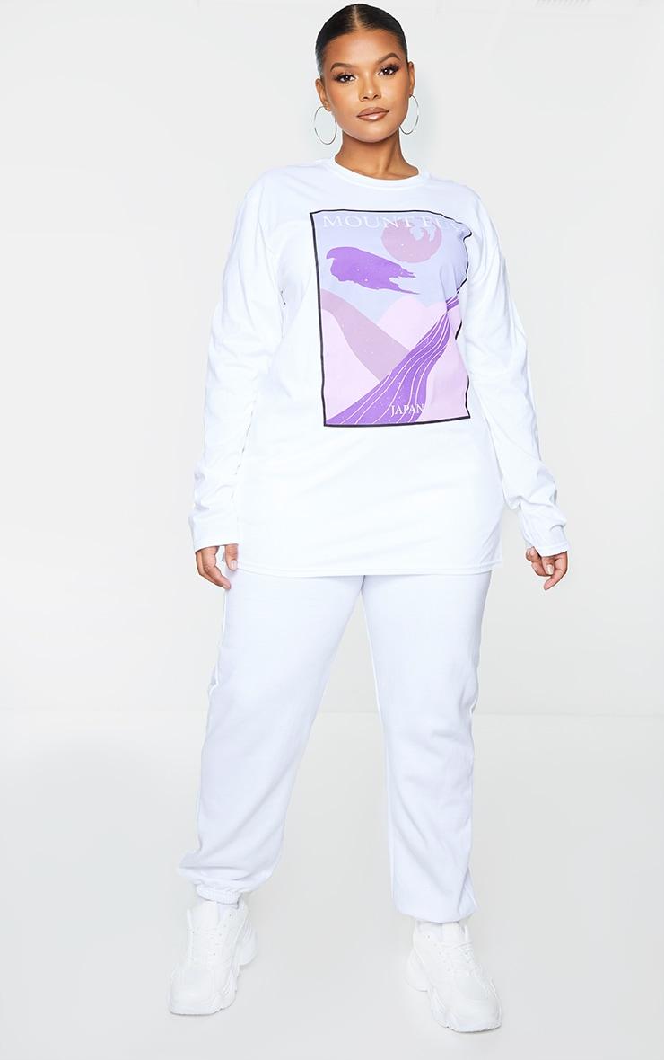 Plus White Mount Fuji Printed Long Sleeve T-Shirt 3