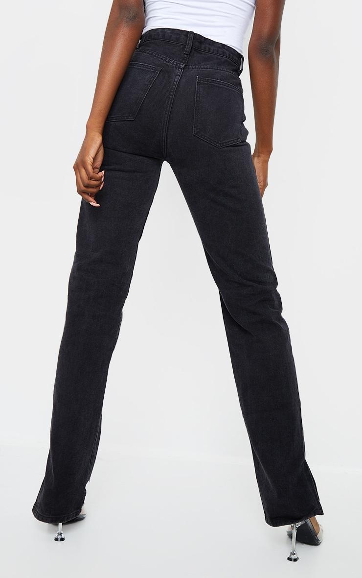 Tall Black Wash Distressed Split Hem Straight Leg Jeans 3