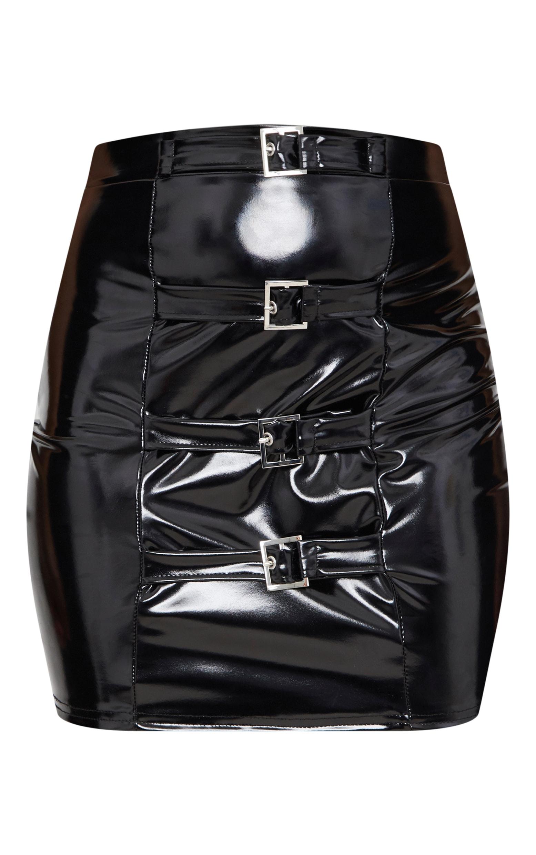 Petite Black Vinyl Detail Bodycon Skirt 3