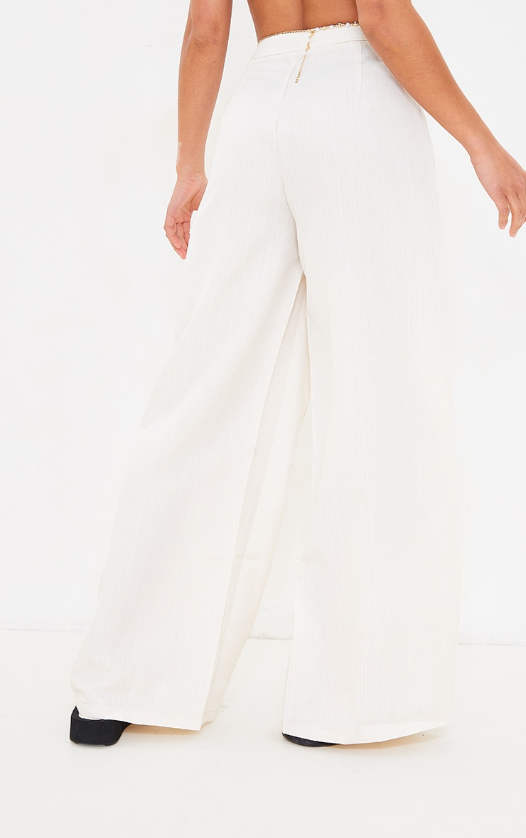 Petite Cream Wide Leg Pleat Detail Pants 3