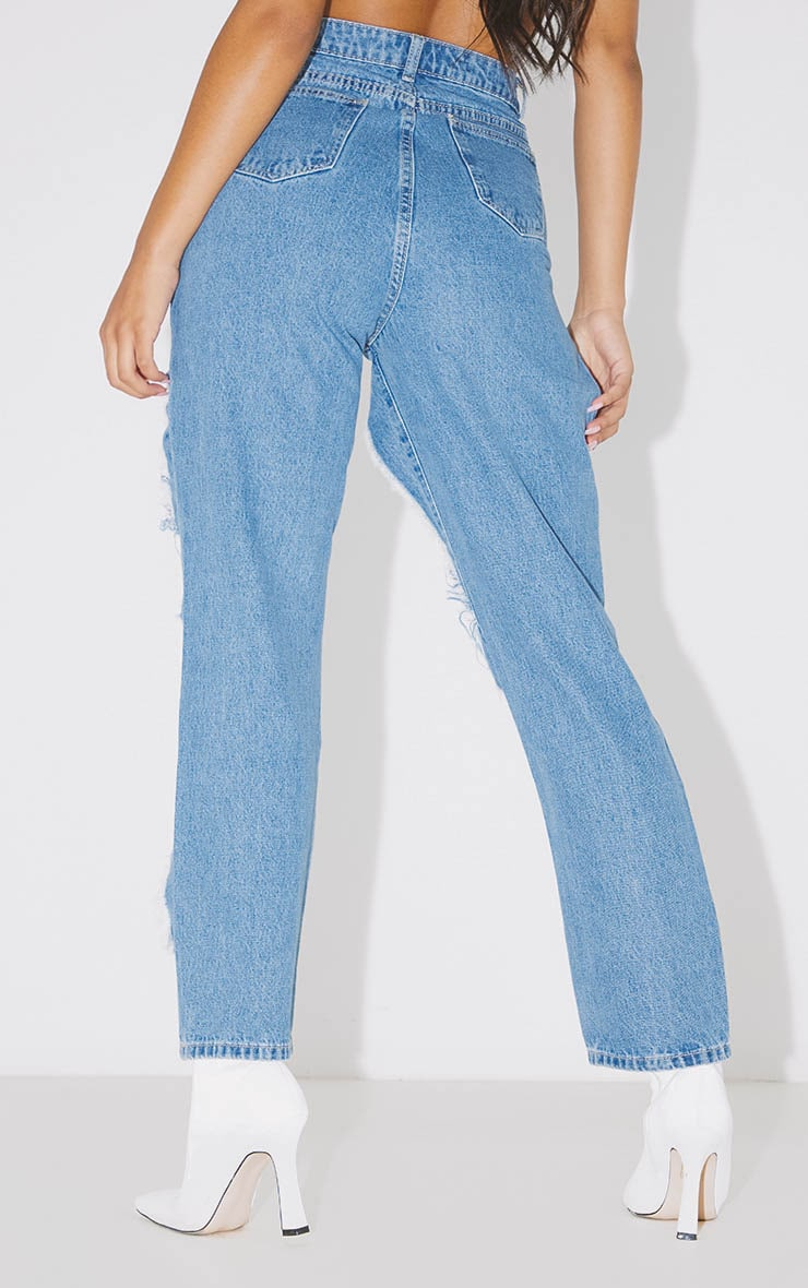 PRETTYLITTLETHING Mid Blue Open Thigh Straight Leg Jean 4