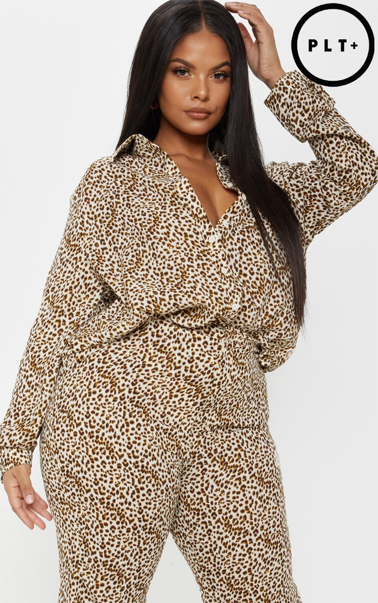 Plus Cream Leopard Print Satin Oversized Shirt 1