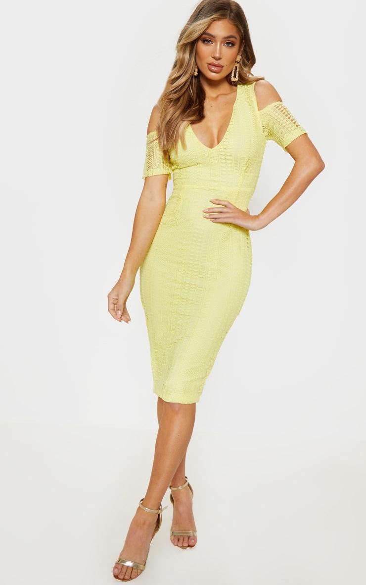Lemon Lace Cold Shoulder Midi Dress 1