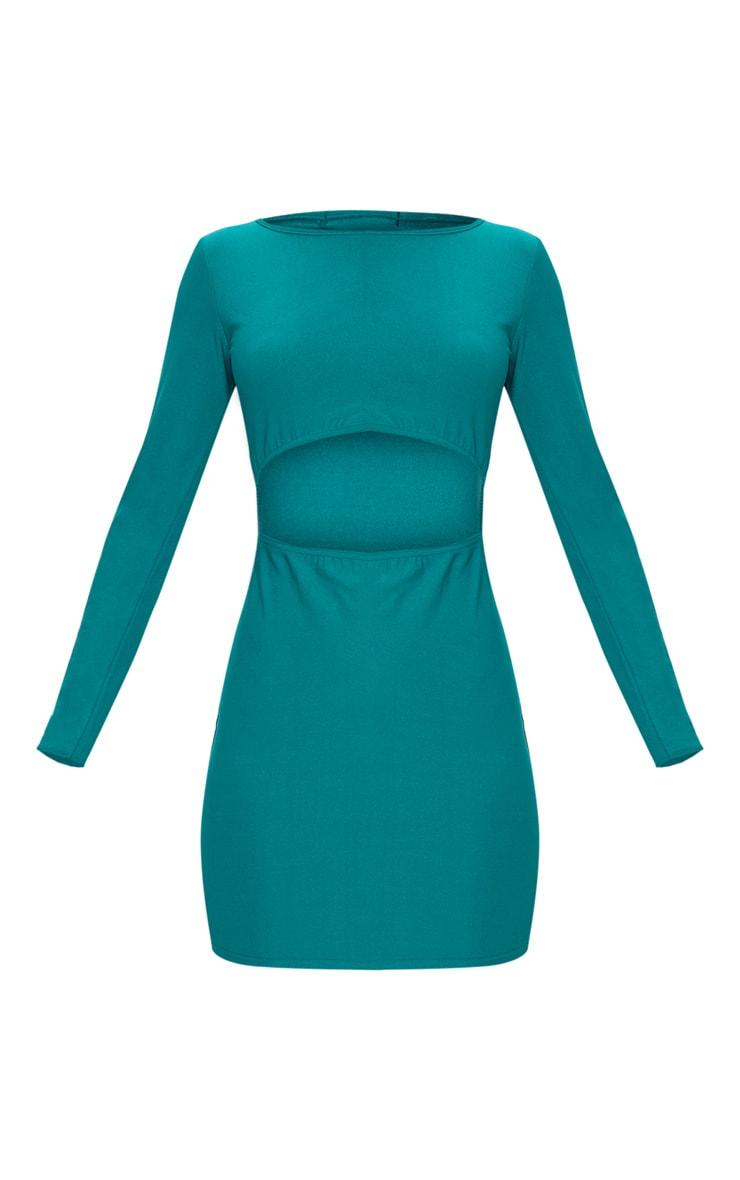 Deep Turquoise Long Sleeve Cut Out Bodycon Dress 3