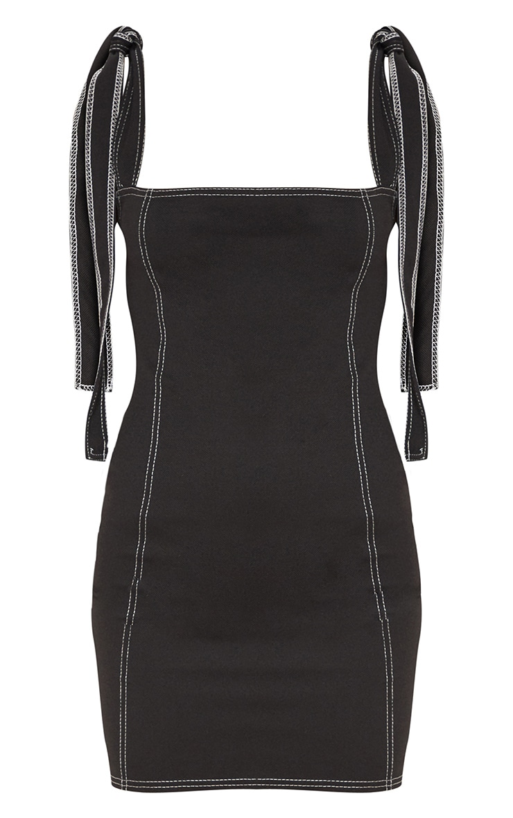 Black Contrast Stitch Tie Shoulder Bodycon Dress 3