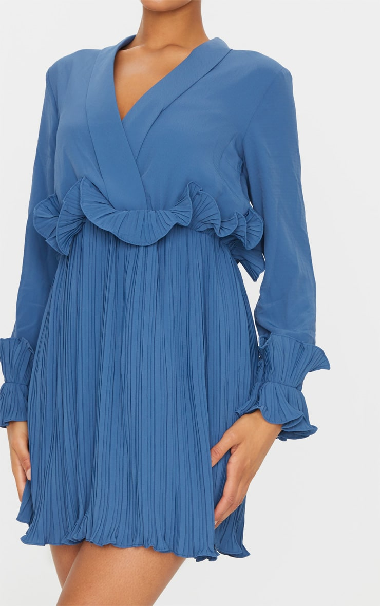Steel Blue Long Sleeve Pleated Skater Dress 4