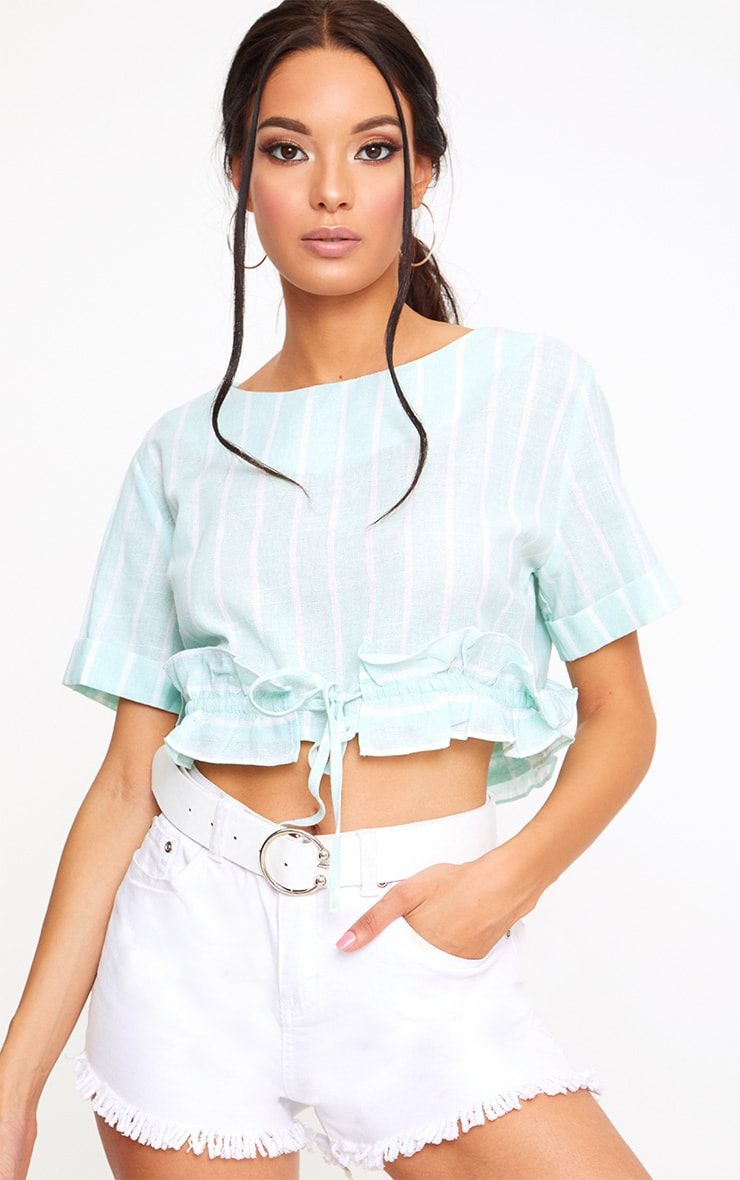 Sage Green Stripe Drawstring Frill Crop Top  1