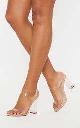 Clear Block Heel Strappy Sandal 1