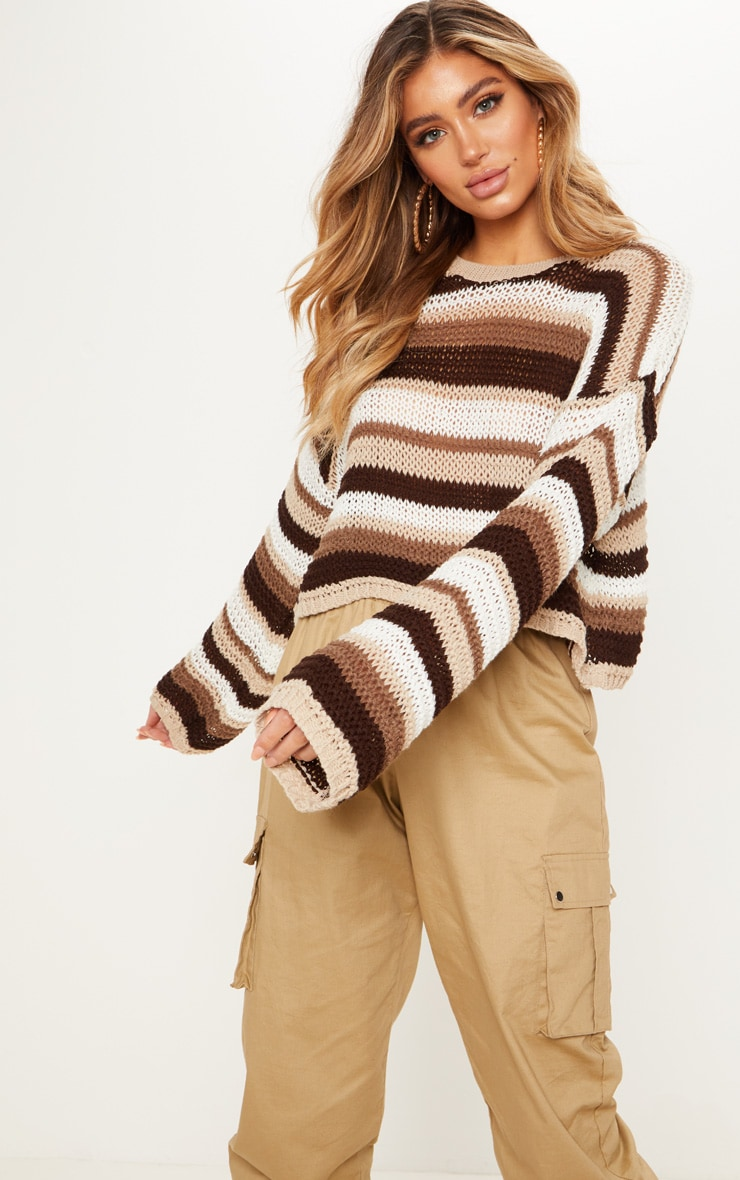 Stone Crochet Striped Jumper  4