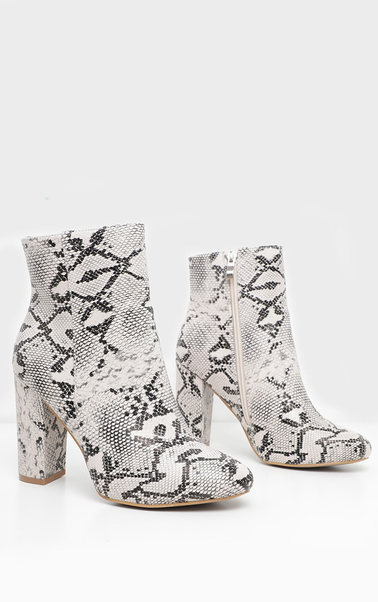 Snake Wide Fit Behati Block Heeled Ankle Boot 3