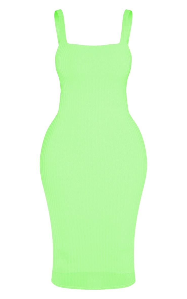 Shape Neon Lime Ribbed Square Neck Midi Dress 3
