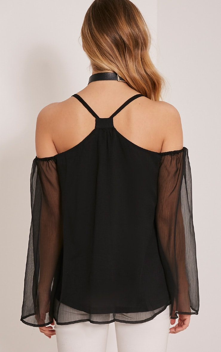 Zeta Black Cold Shoulder Chiffon Top 2