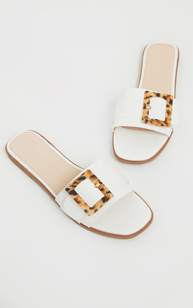 White Tortoise Buckle Mule Sandals 4