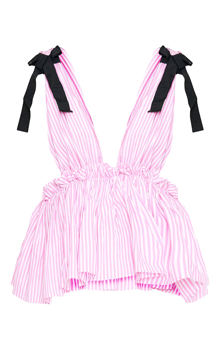 Pink Stripe Tie Shoulder Ruffle Sleeveless Shirt 3