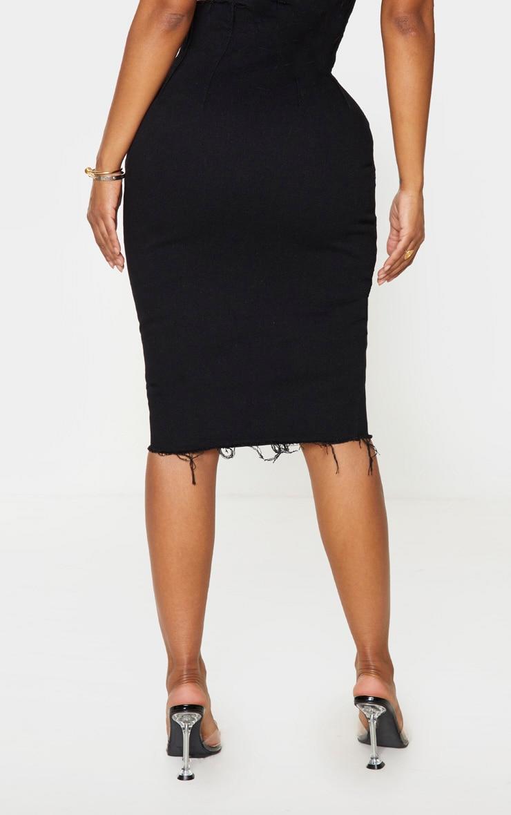Shape Black Button Front Seam Detail Denim Midi Skirt 3