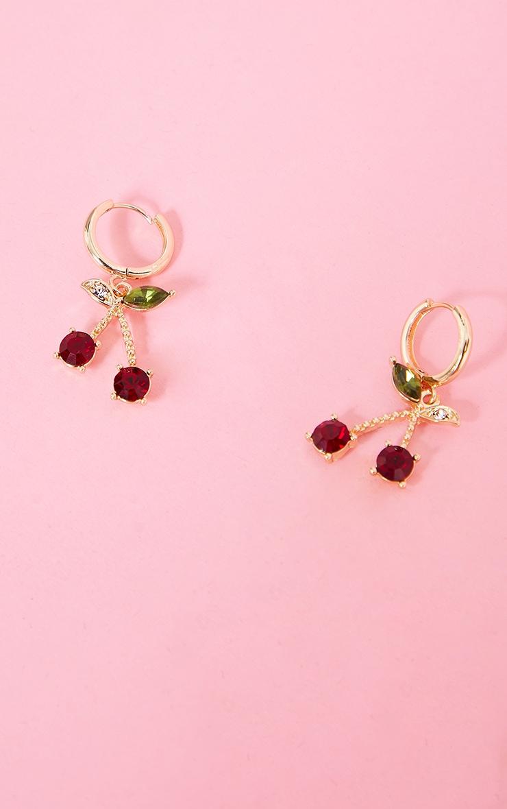 Gold Mini Cherry Hoop Earrings 1