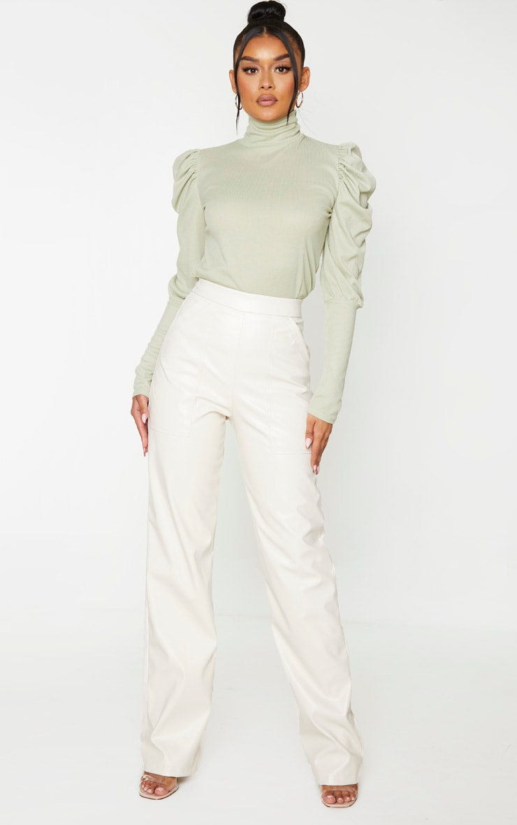 Mint Rib Puff Sleeve Long Top 3