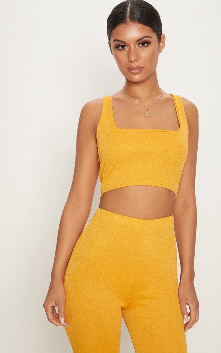 Mustard Stretch Crepe Square Neck Crop Top 1