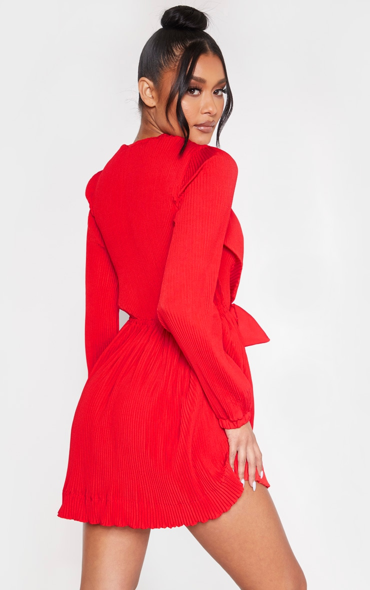 Red Pleated Plunge Long Sleeve Skater Dress 2