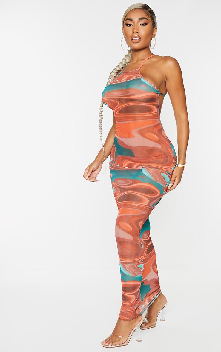 Shape Brown Marble Print Sheer Mesh Ring Detail Backless Midaxi Dress 3