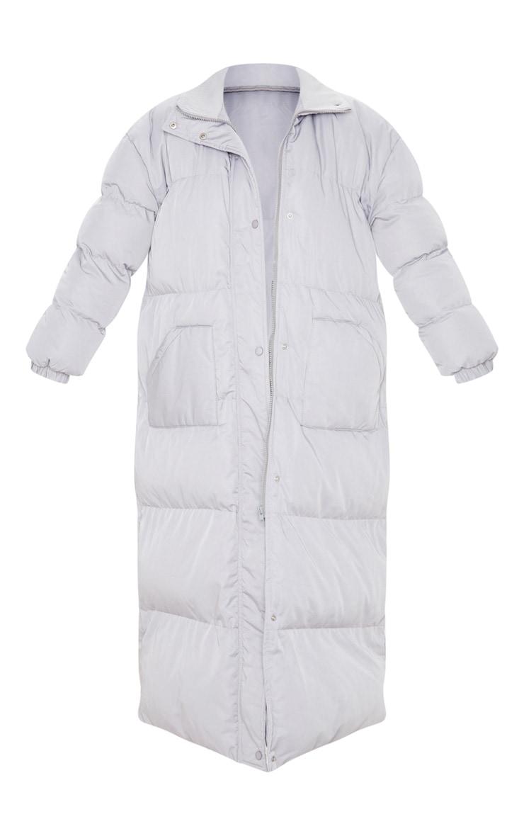 Light Grey Maxi Puffer Coat 3