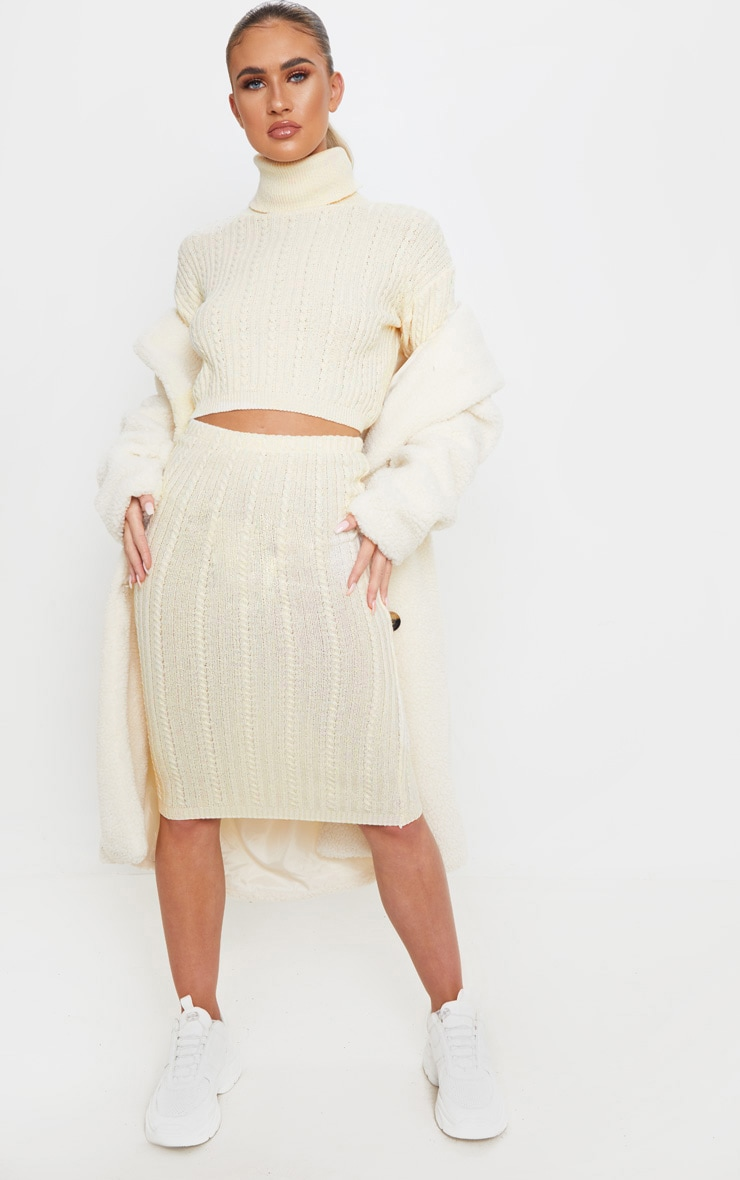 Cream Roll Neck Cable Knit Cropped Sweater 4