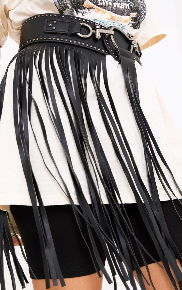Black Fringed Waist Belt 3