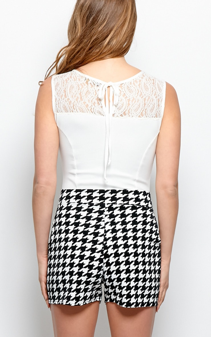 Tess Lace & Dogtooth Print Playsuit 2