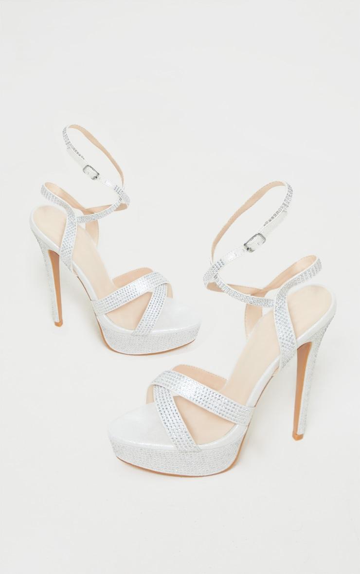Silver Diamante Platform Sandal 3