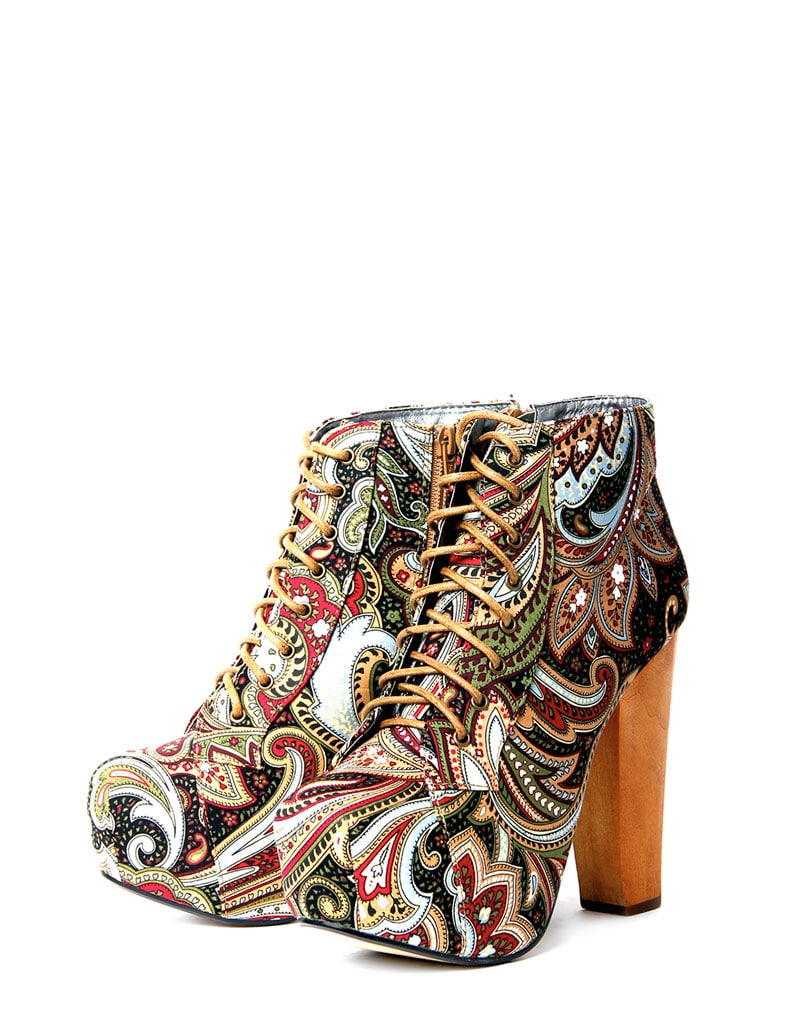Paisley Print Platform Boot  2