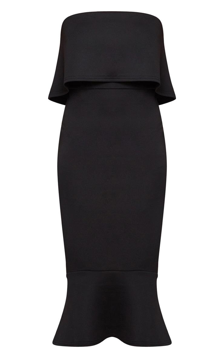 Black Bandeau Frill Hem Midi Dress 3