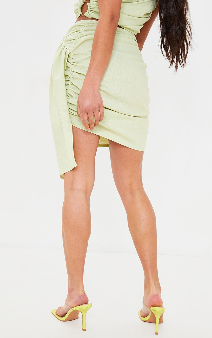 Petite Sage Green Linen Feel Ruched Side Bodycon Skirt 3