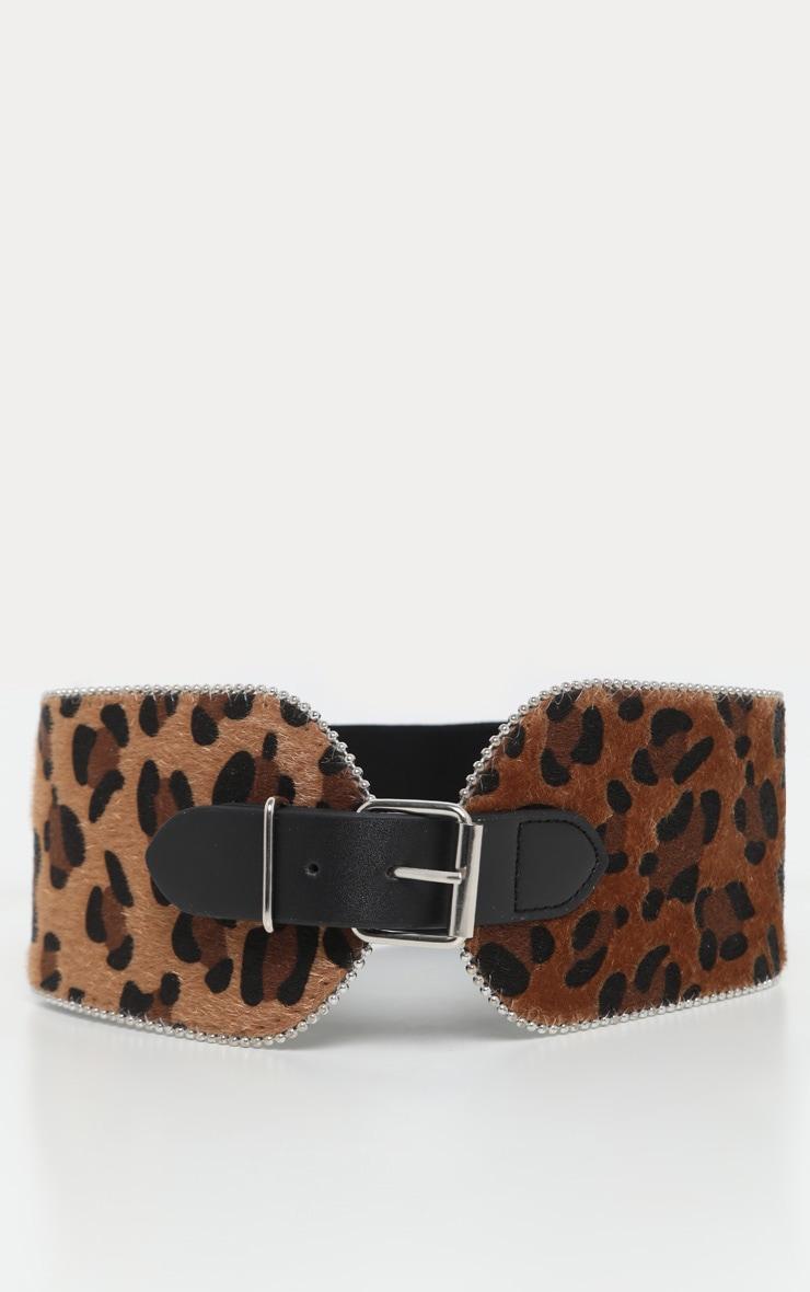 Brown Leopard Faux Pony Hair Ball Chain Border Belt 2