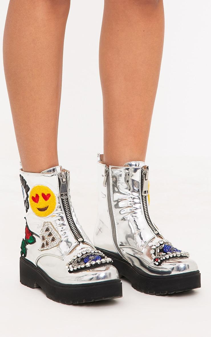 Carinia Silver Metallic Applique Ankle Boots  3