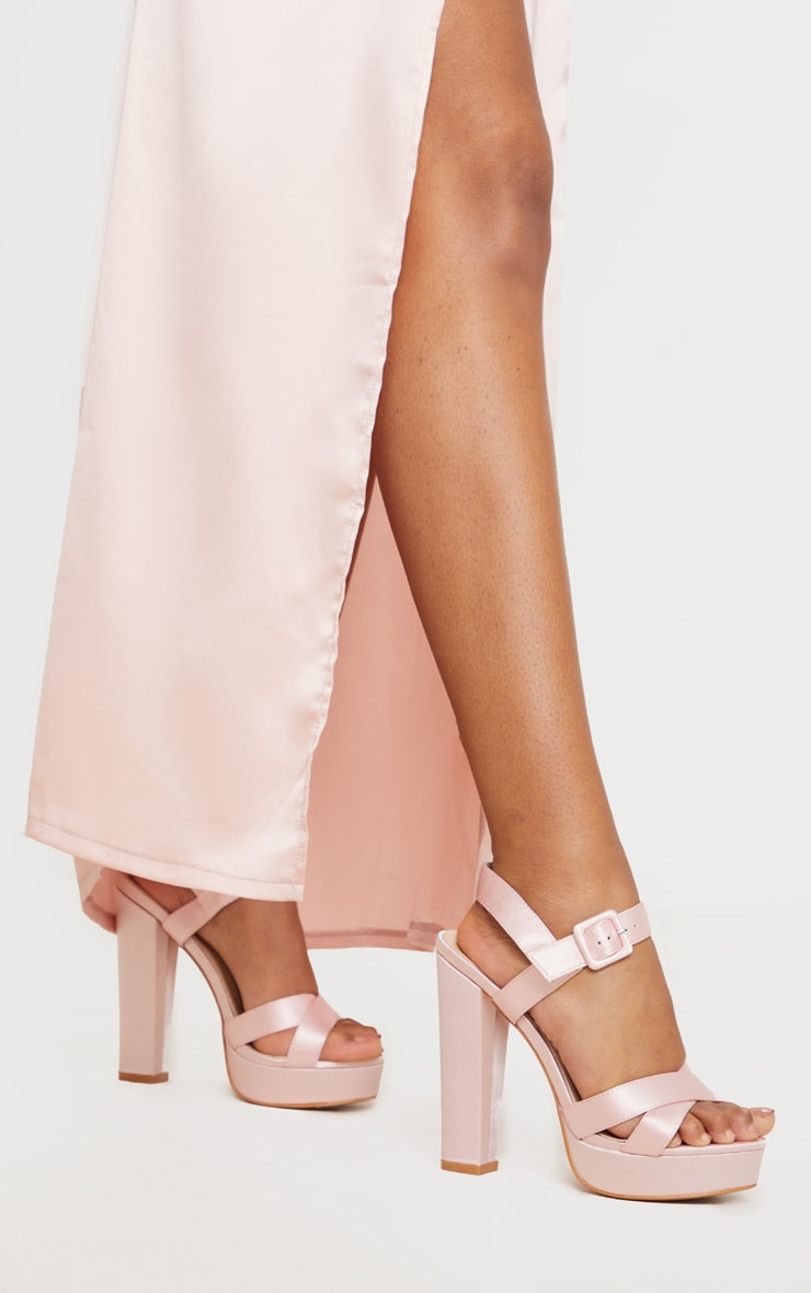 Nude Cross Strap Buckle Detail Platform Sandal 2