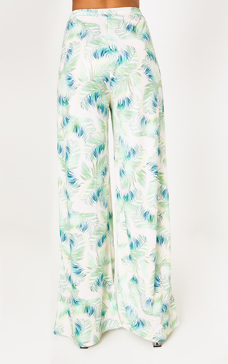White Tropical Leaf Print Slinky Wide Leg Trousers 4