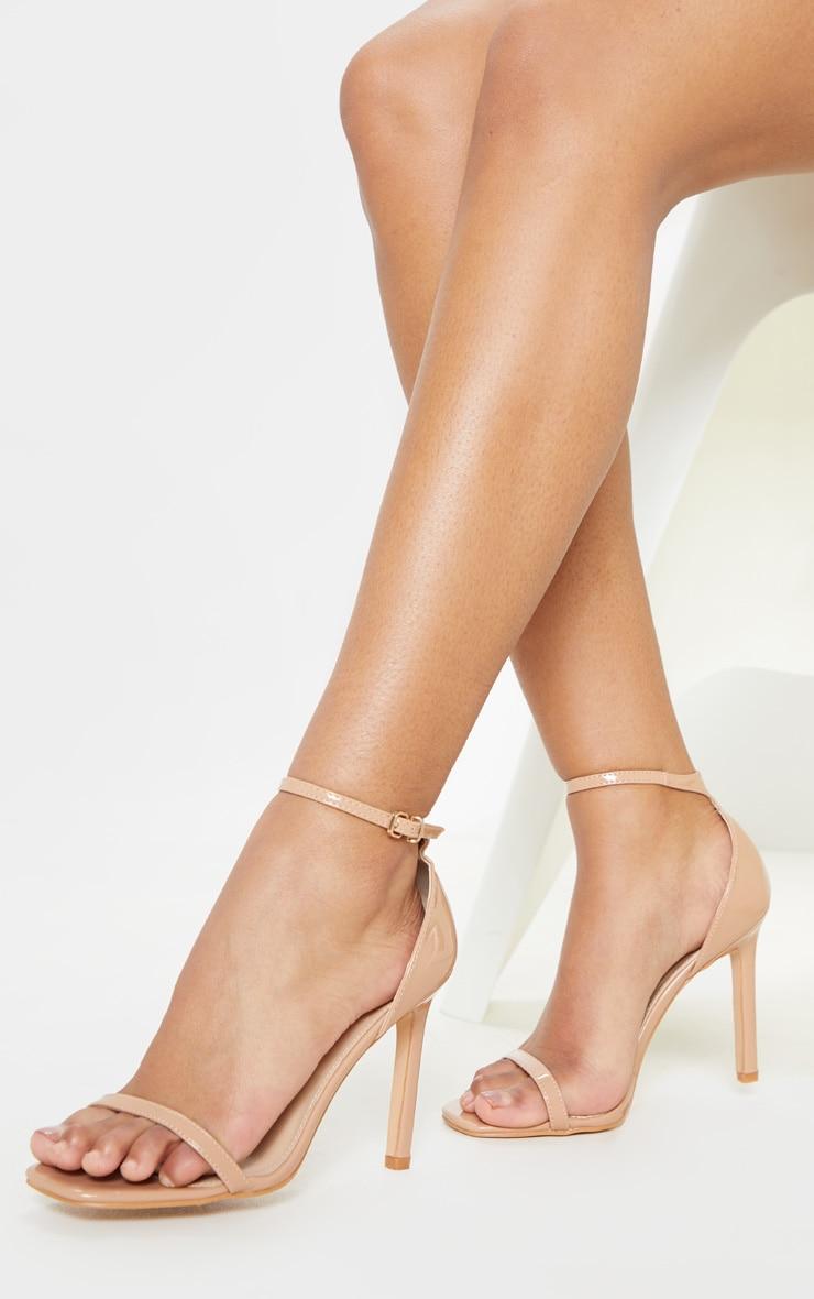 Mid Nude Thin Strap Square Toe Strappy Sandal 1