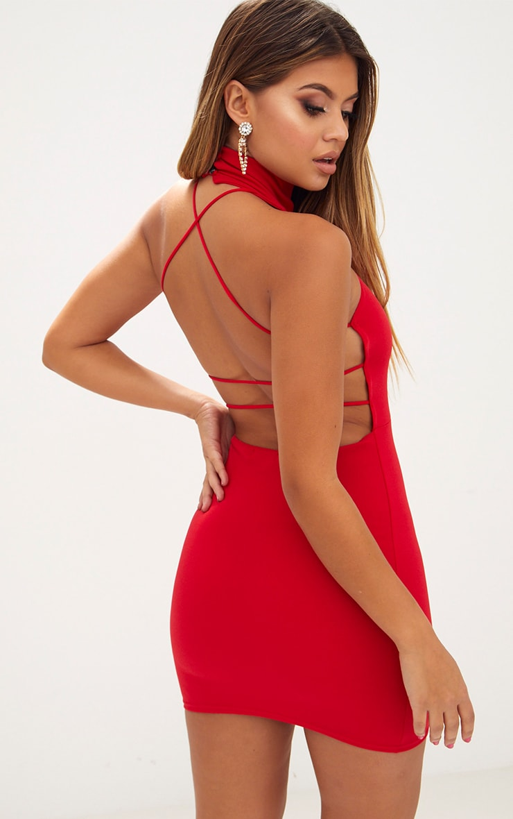 Red Lace Up Back Extreme High Neck Detail Bodycon Dress