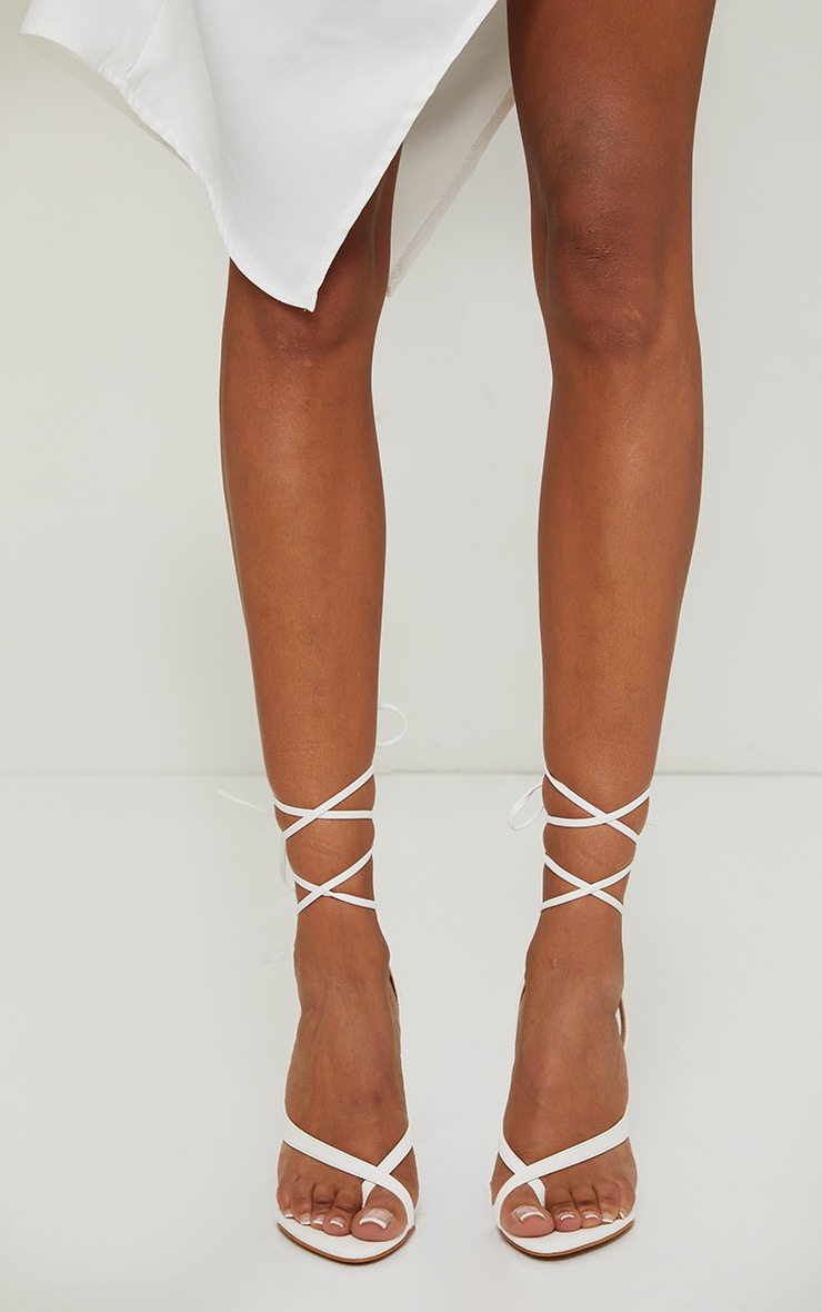 White Cross Toe Loop Ankle Strappy High Heels 2