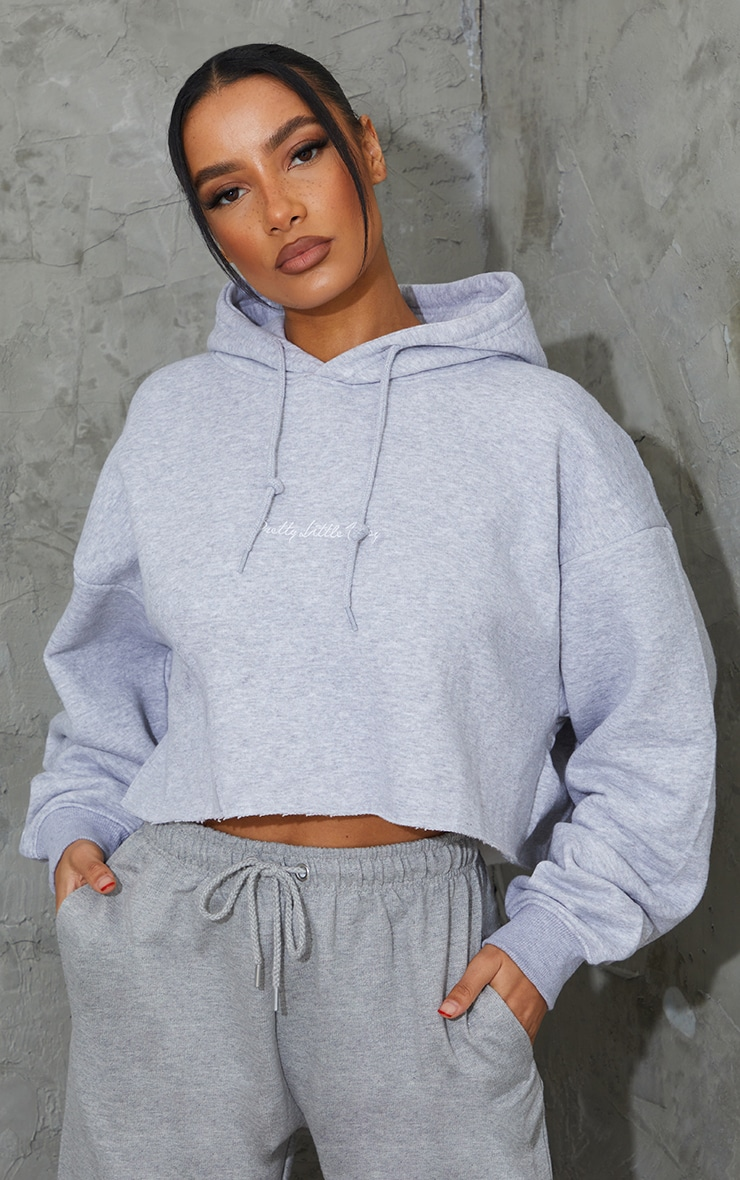 PRETTYLITTLETHING Grey Marl Embroidered Crop Hoodie 3